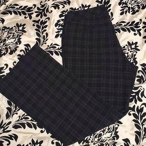 Black w/Subtle Gray Plaid Career Pants